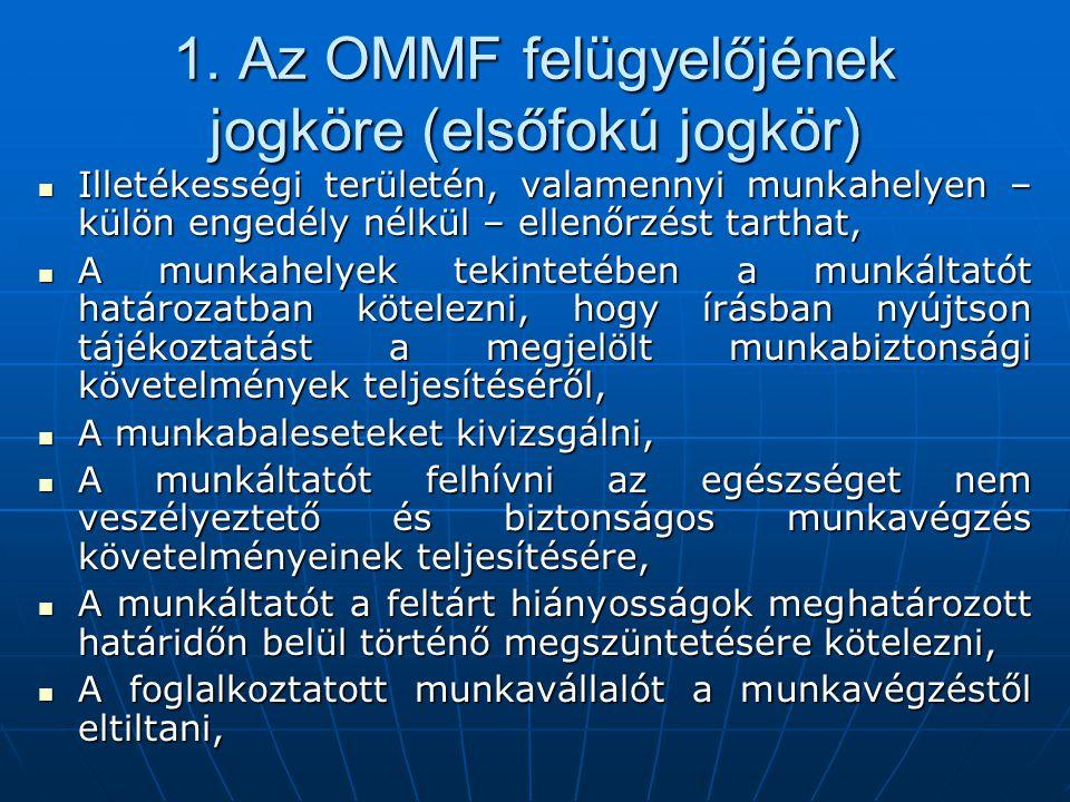 1. Az OMMF felügyelőjének jogköre (elsőfokú jogkör)