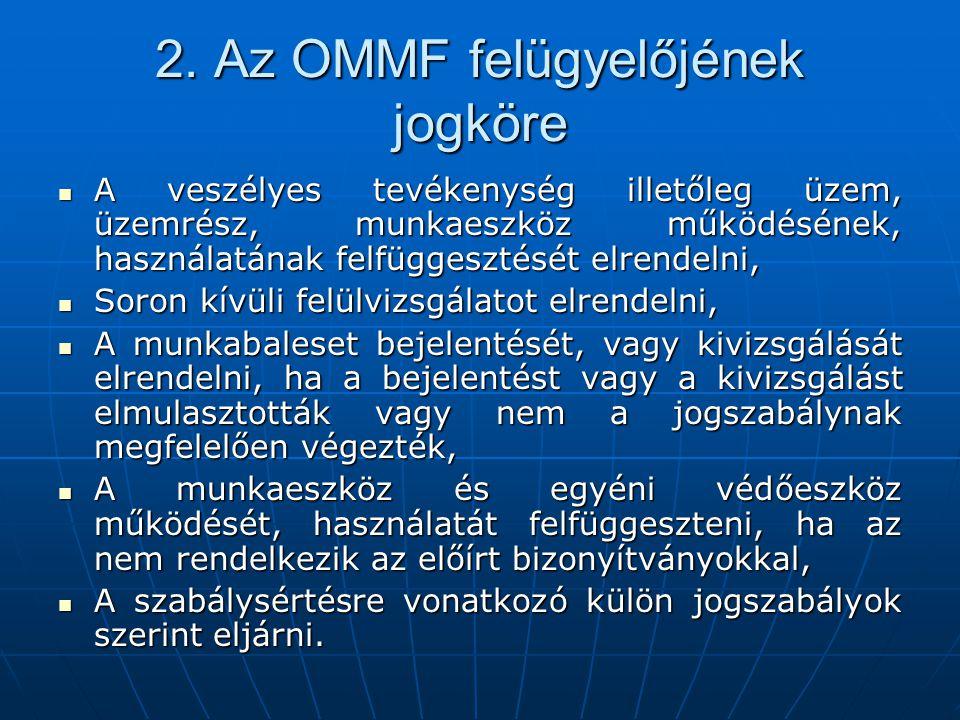 2. Az OMMF felügyelőjének jogköre