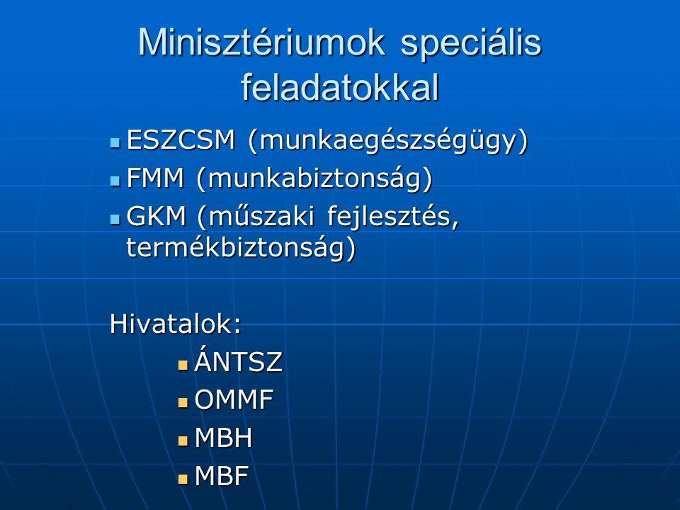 Minisztériumok speciális feladatokkal