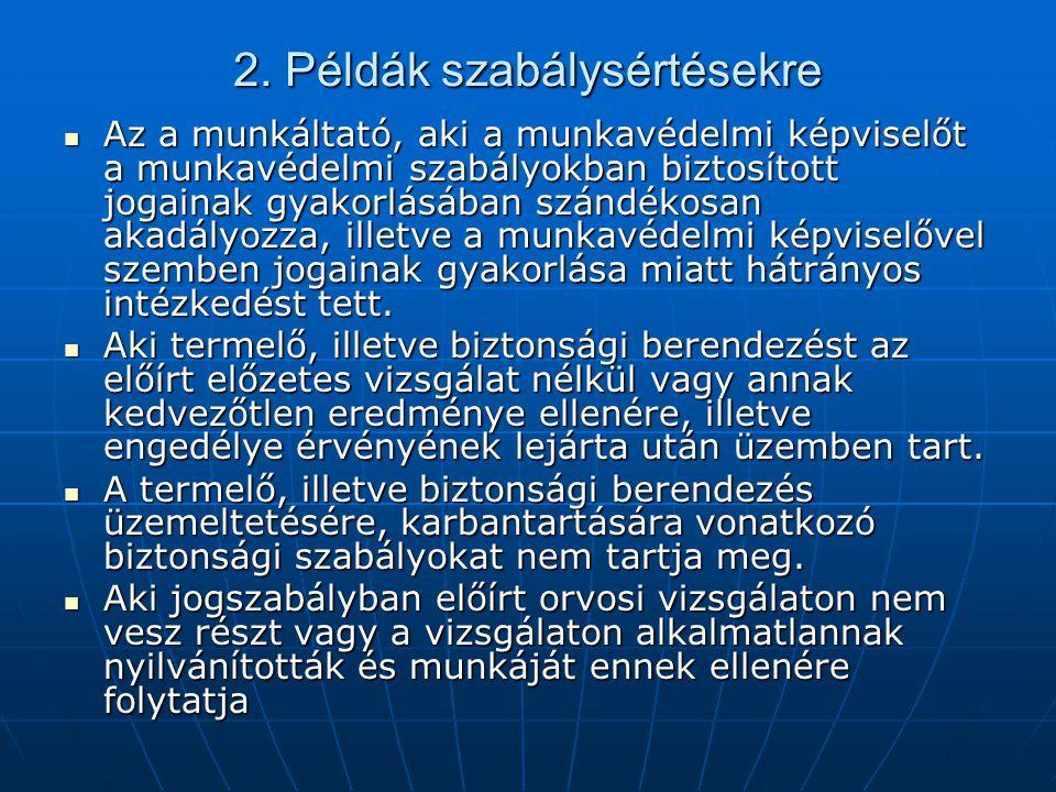 2. Példák szabálysértésekre