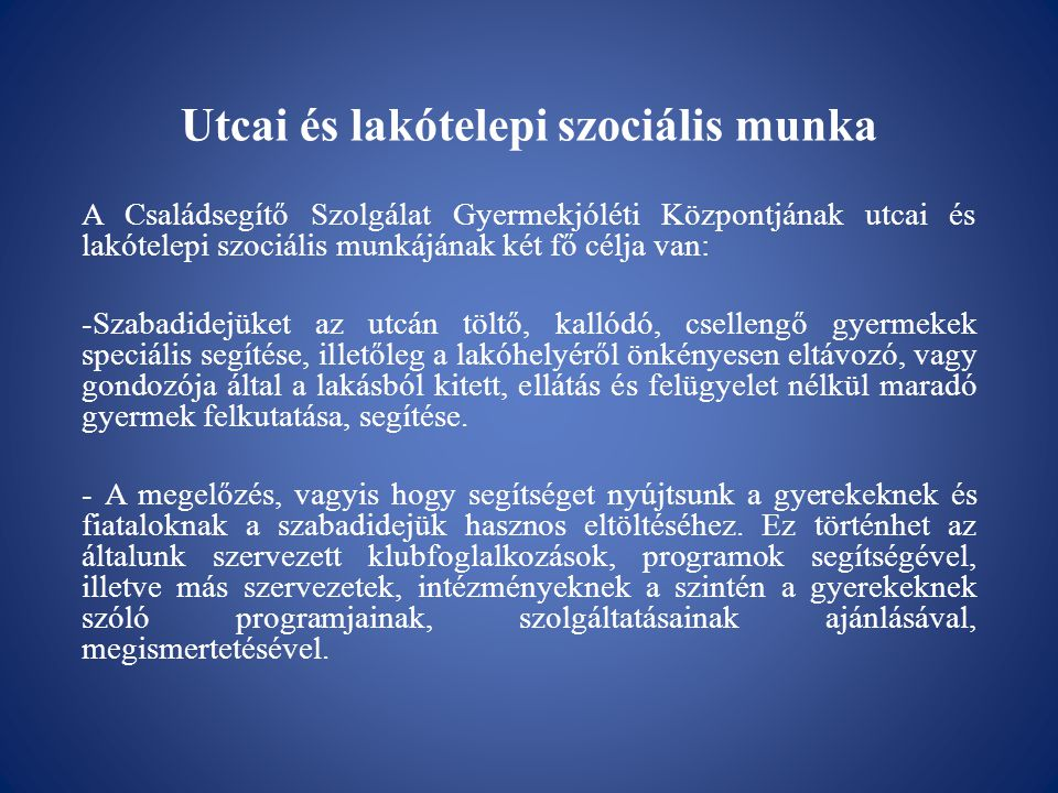 Utcai és lakótelepi szociális munka