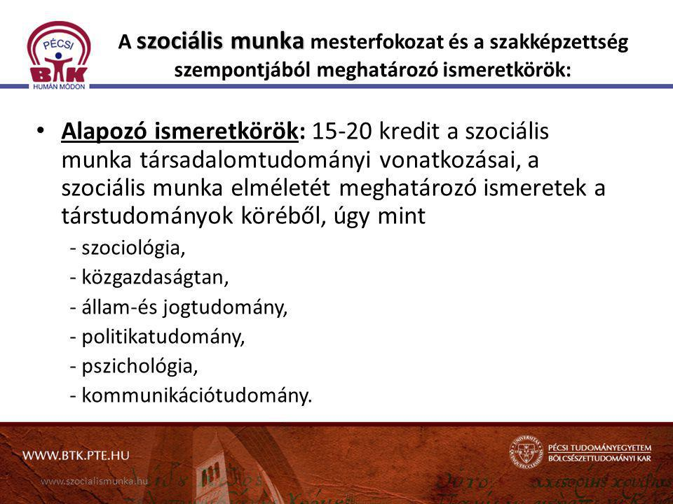 A szociális munka mesterfokozat és a szakképzettség szempontjából meghatározó ismeretkörök: