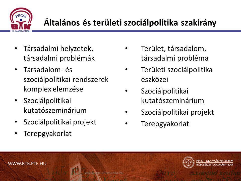 Általános és területi szociálpolitika szakirány