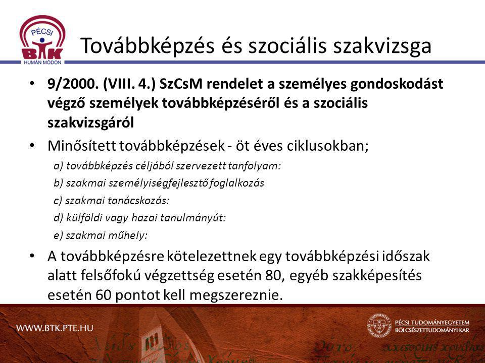 Továbbképzés és szociális szakvizsga