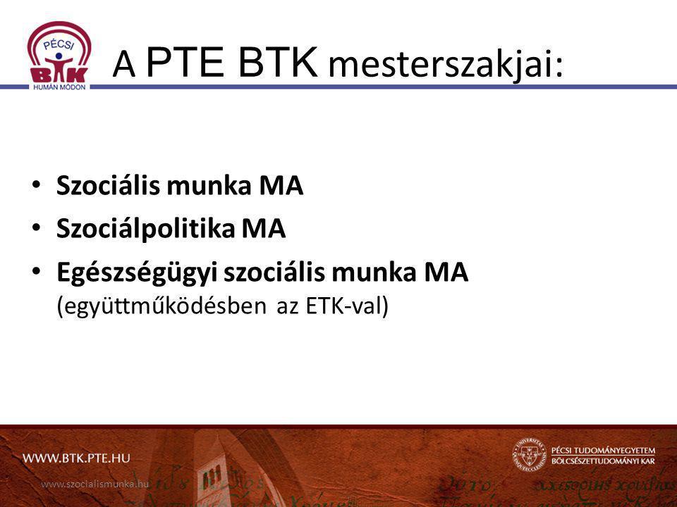 A PTE BTK mesterszakjai: