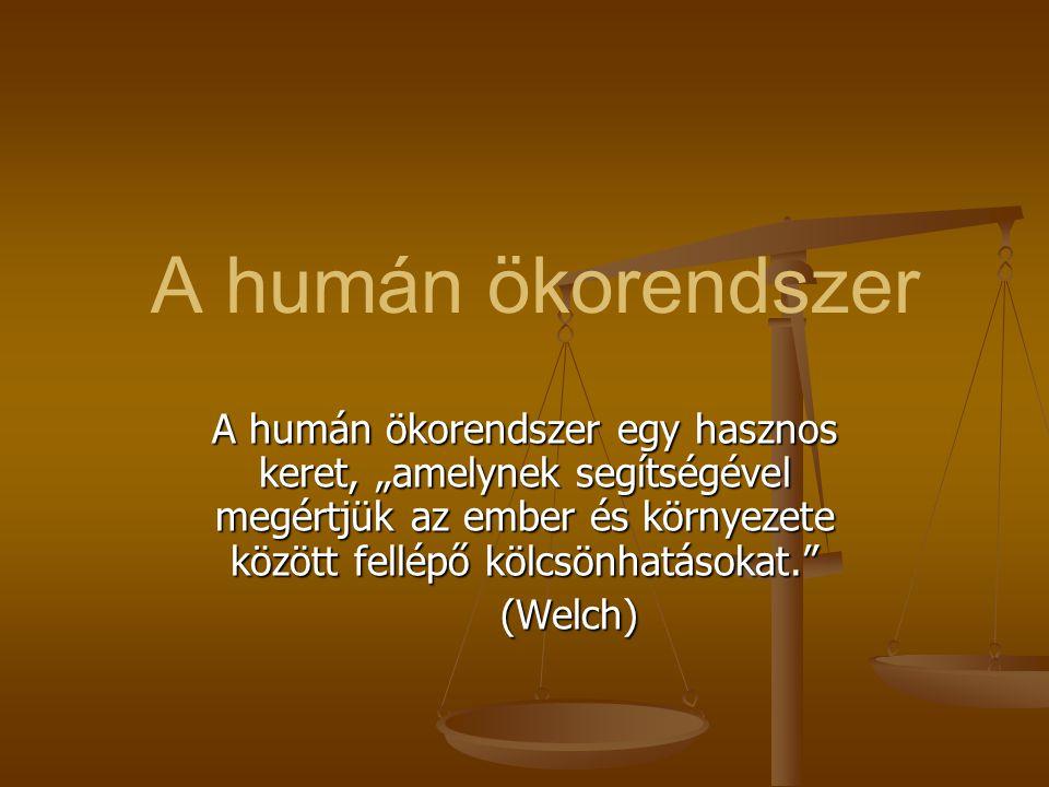 """A humán ökorendszer A humán ökorendszer egy hasznos keret, """"amelynek segítségével megértjük az ember és környezete között fellépő kölcsönhatásokat."""