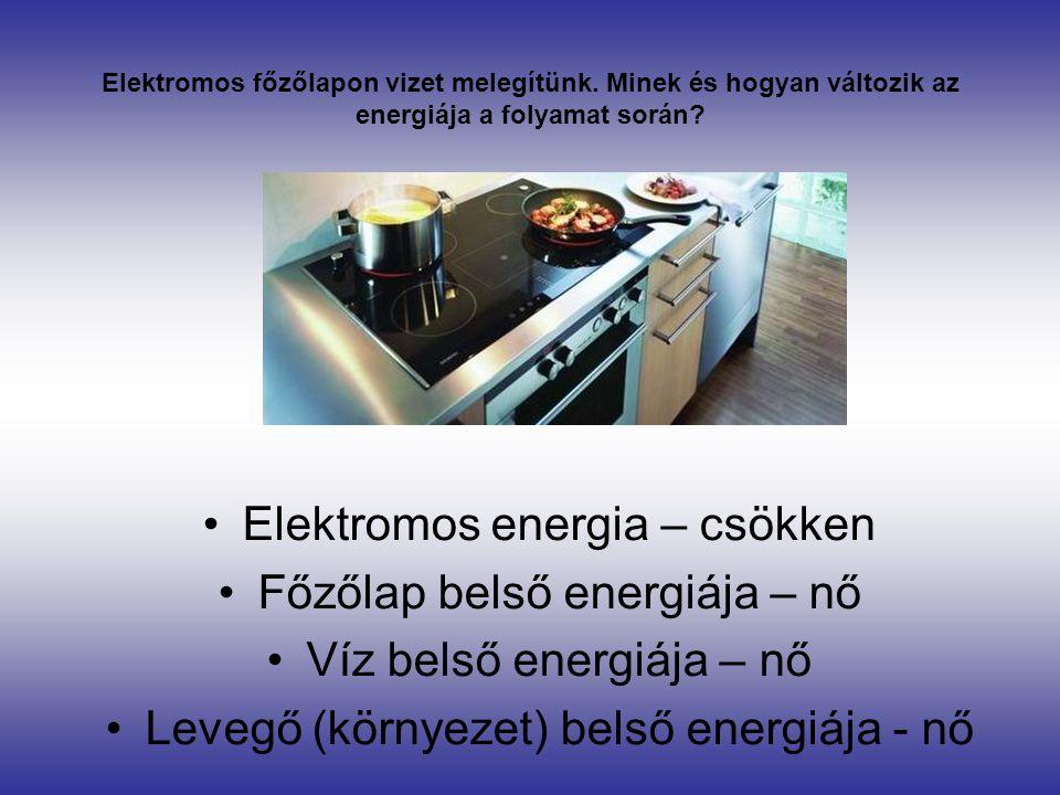 Elektromos energia – csökken Főzőlap belső energiája – nő