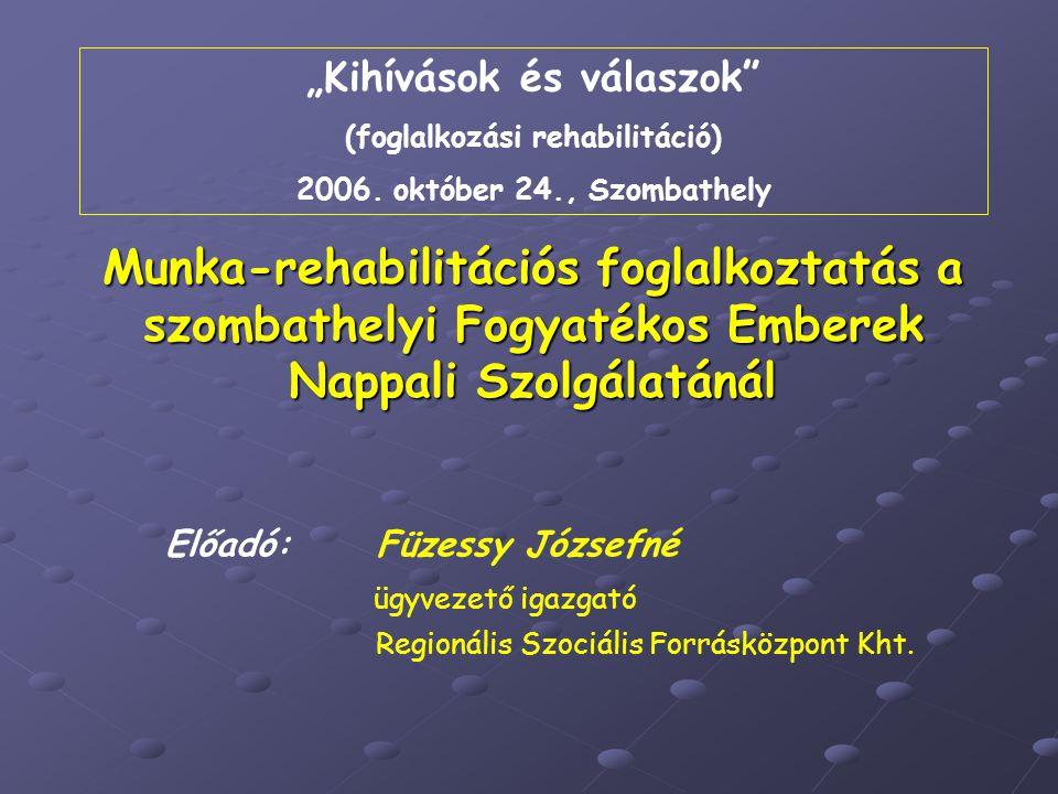 """""""Kihívások és válaszok (foglalkozási rehabilitáció)"""