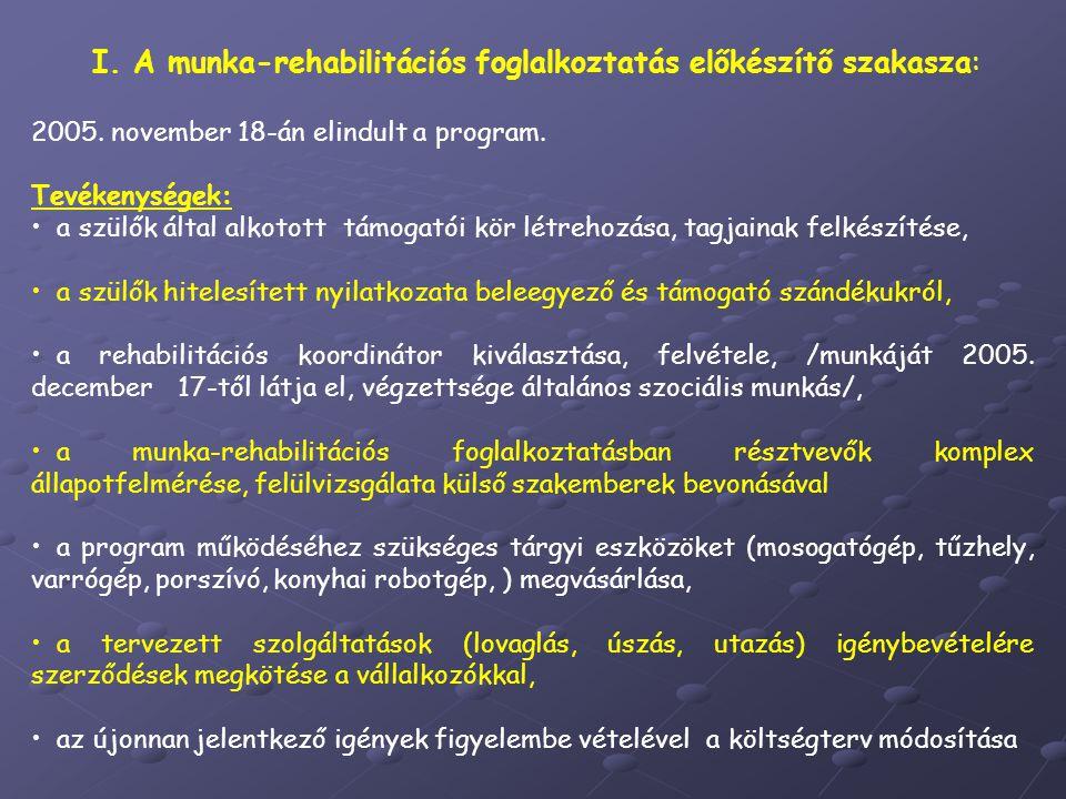 I. A munka-rehabilitációs foglalkoztatás előkészítő szakasza: