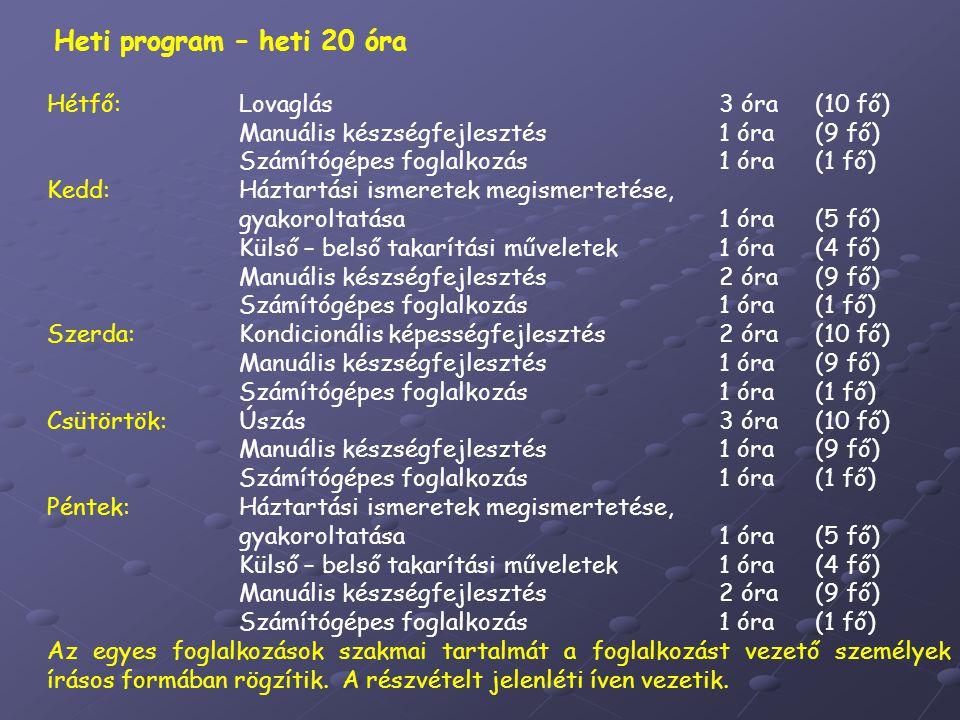 Heti program – heti 20 óra Hétfő: Lovaglás 3 óra (10 fő) Manuális készségfejlesztés 1 óra (9 fő)
