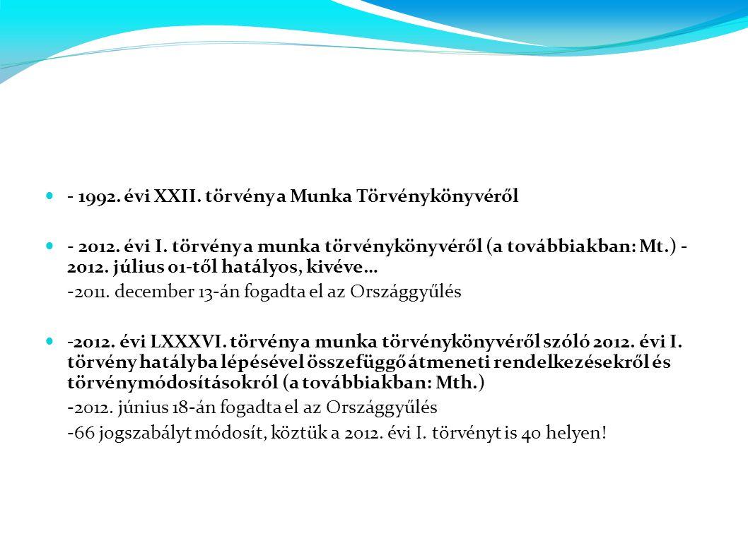 - 1992. évi XXII. törvény a Munka Törvénykönyvéről