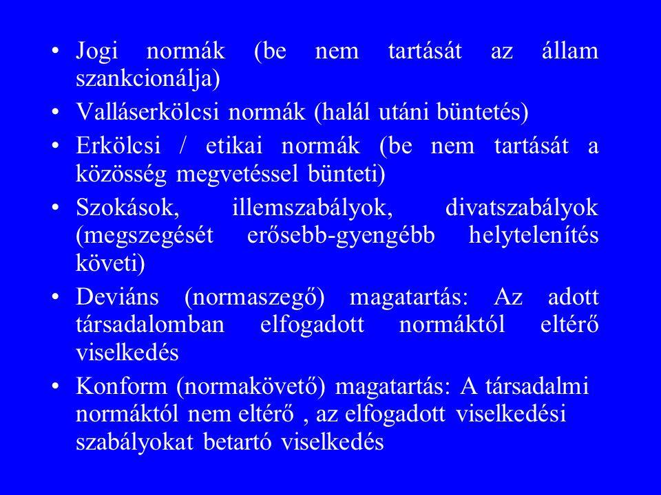 Jogi normák (be nem tartását az állam szankcionálja)