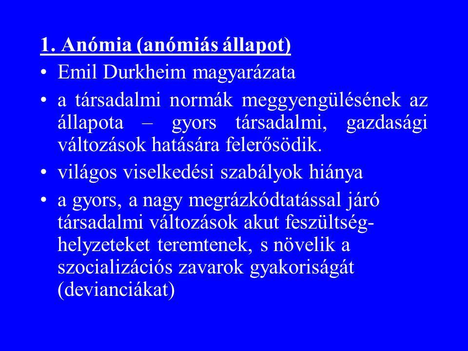 1. Anómia (anómiás állapot)