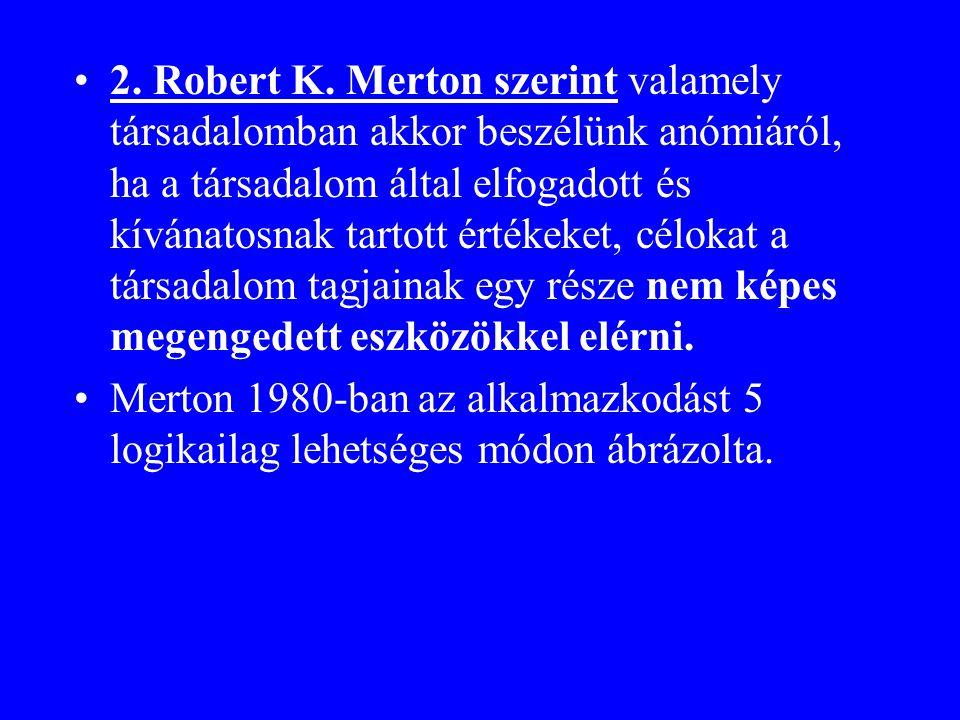 2. Robert K. Merton szerint valamely társadalomban akkor beszélünk anómiáról, ha a társadalom által elfogadott és kívánatosnak tartott értékeket, célokat a társadalom tagjainak egy része nem képes megengedett eszközökkel elérni.