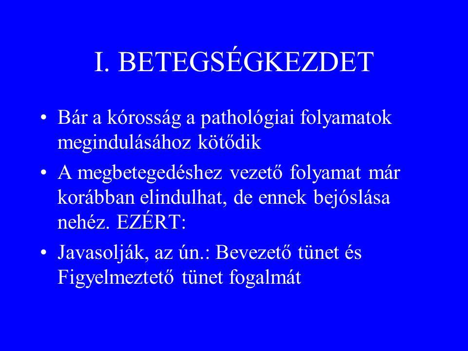 I. BETEGSÉGKEZDET Bár a kórosság a pathológiai folyamatok megindulásához kötődik.