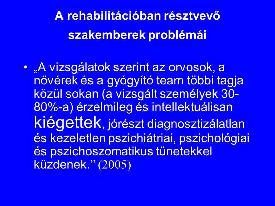 A rehabilitációban résztvevő szakemberek problémái