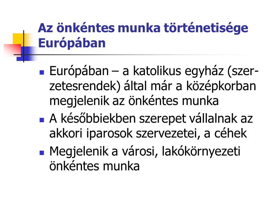 Az önkéntes munka történetisége Európában