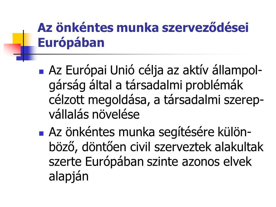 Az önkéntes munka szerveződései Európában