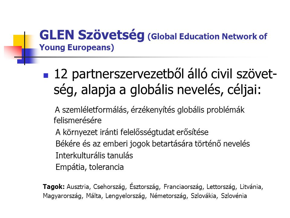 GLEN Szövetség (Global Education Network of Young Europeans)