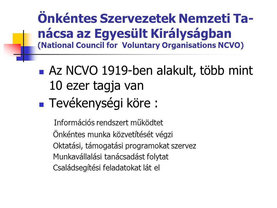 Az NCVO 1919-ben alakult, több mint 10 ezer tagja van