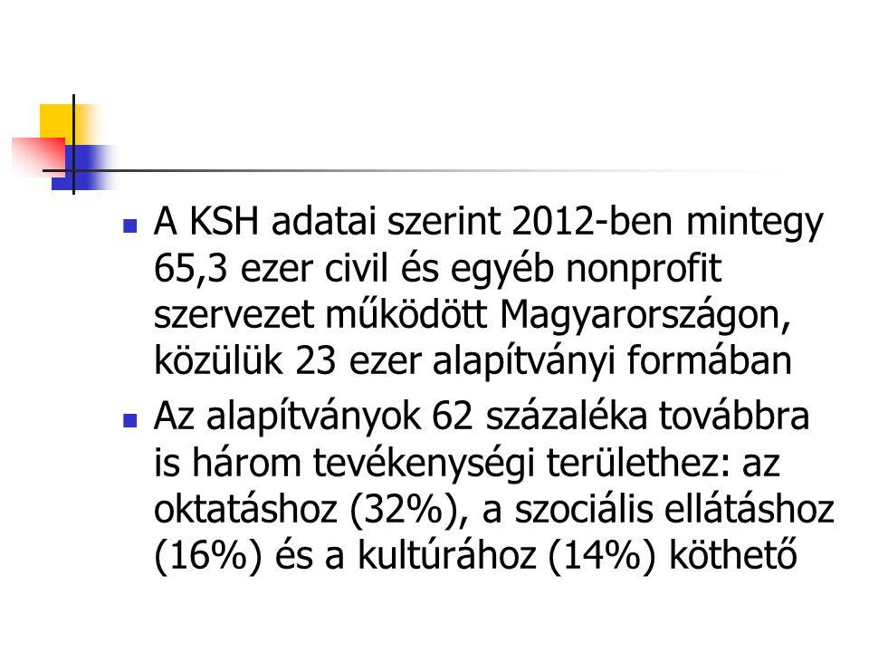 A KSH adatai szerint 2012-ben mintegy 65,3 ezer civil és egyéb nonprofit szervezet működött Magyarországon, közülük 23 ezer alapítványi formában