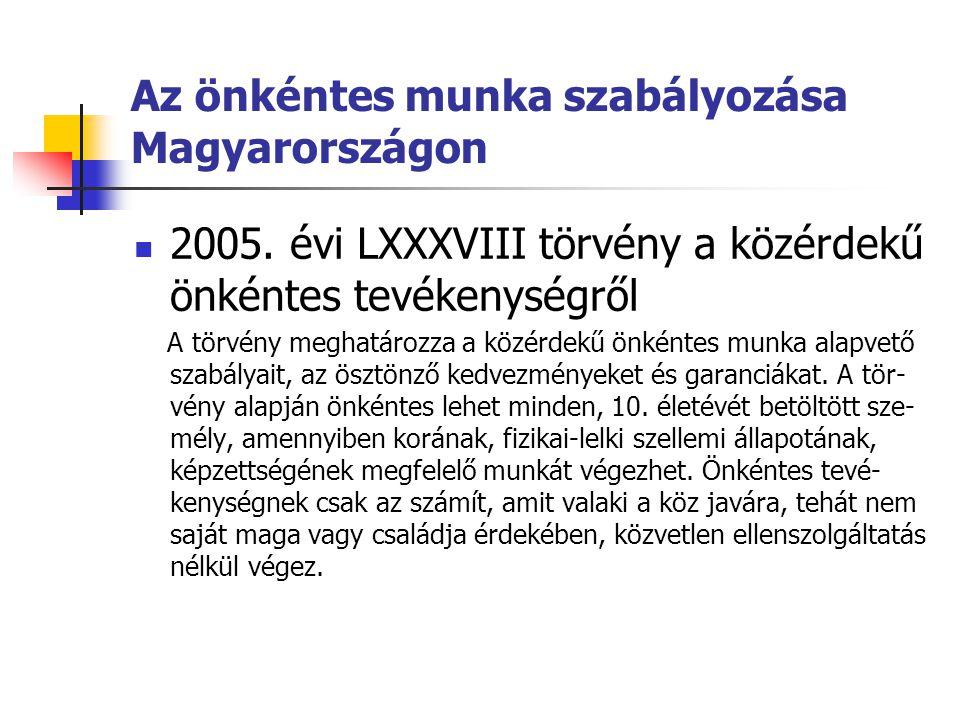 Az önkéntes munka szabályozása Magyarországon