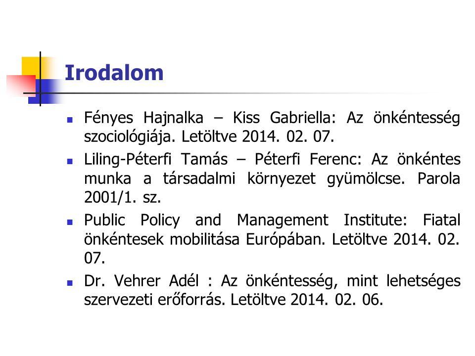 Irodalom Fényes Hajnalka – Kiss Gabriella: Az önkéntesség szociológiája. Letöltve 2014. 02. 07.