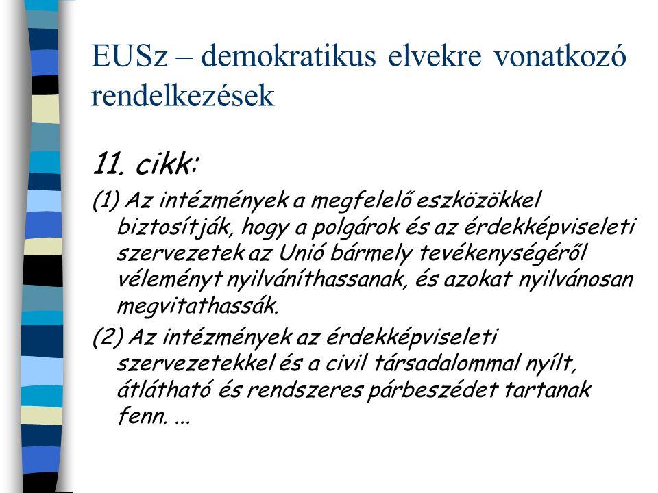EUSz – demokratikus elvekre vonatkozó rendelkezések