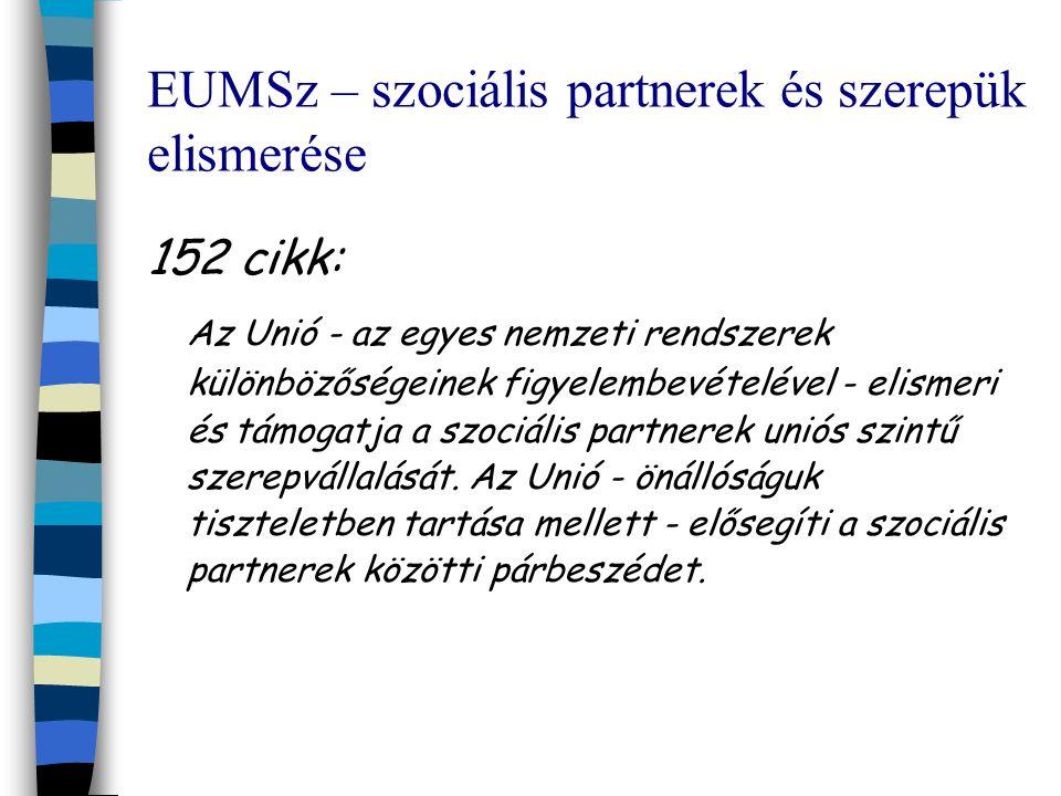 EUMSz – szociális partnerek és szerepük elismerése