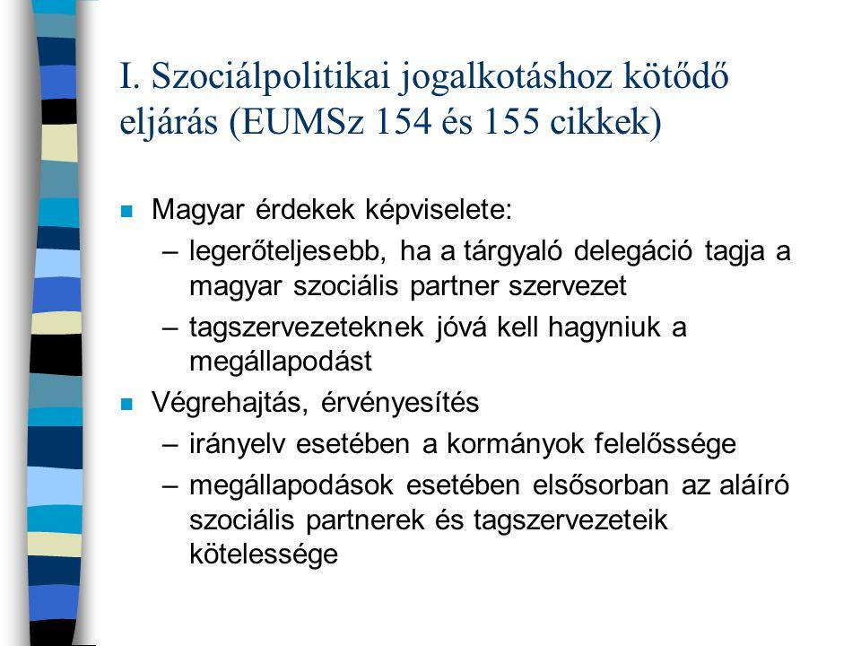 I. Szociálpolitikai jogalkotáshoz kötődő eljárás (EUMSz 154 és 155 cikkek)