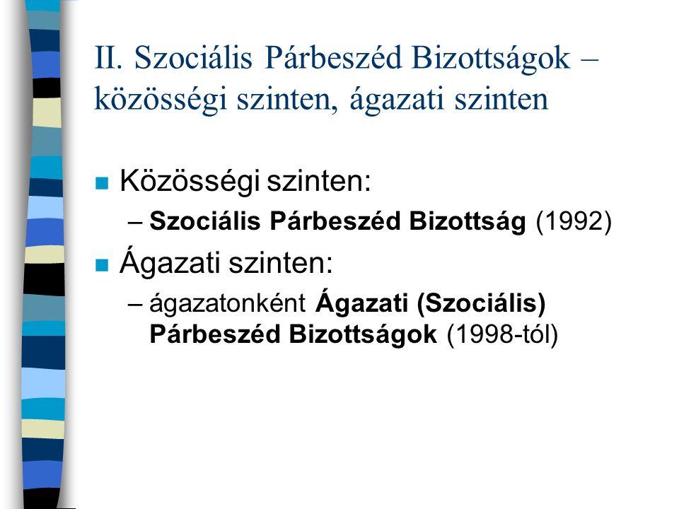 II. Szociális Párbeszéd Bizottságok – közösségi szinten, ágazati szinten