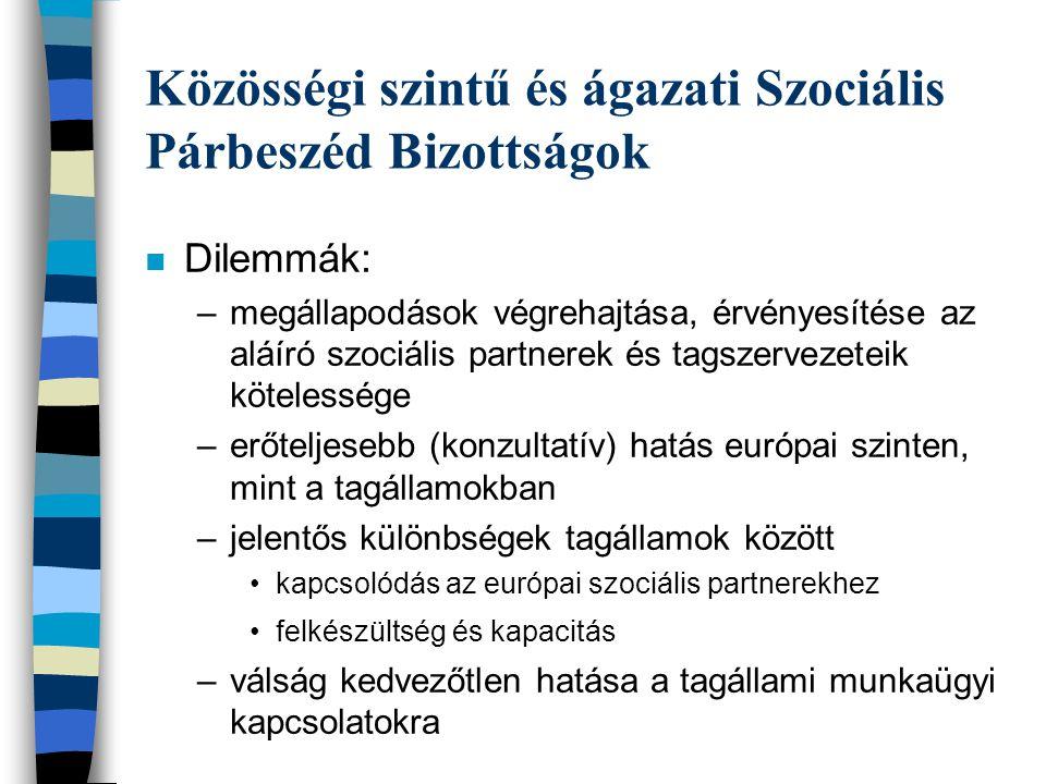 Közösségi szintű és ágazati Szociális Párbeszéd Bizottságok