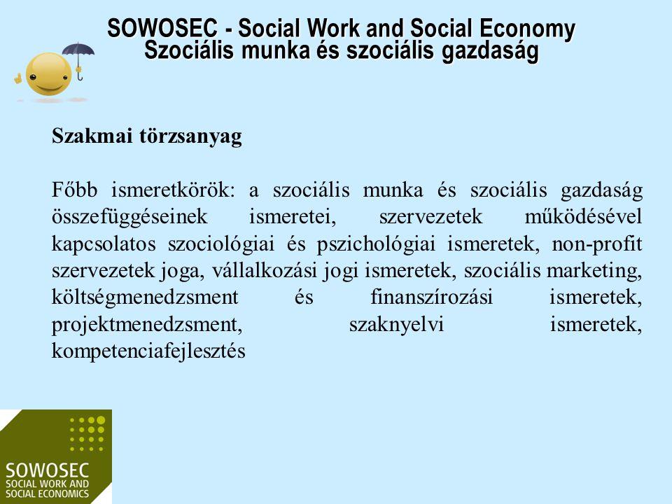 2017.04.03. SOWOSEC - Social Work and Social Economy Szociális munka és szociális gazdaság. Szakmai törzsanyag.