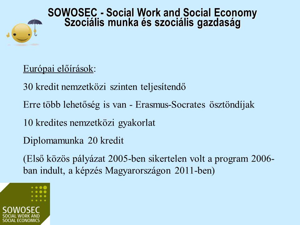 2017.04.03. SOWOSEC - Social Work and Social Economy Szociális munka és szociális gazdaság. Európai előírások:
