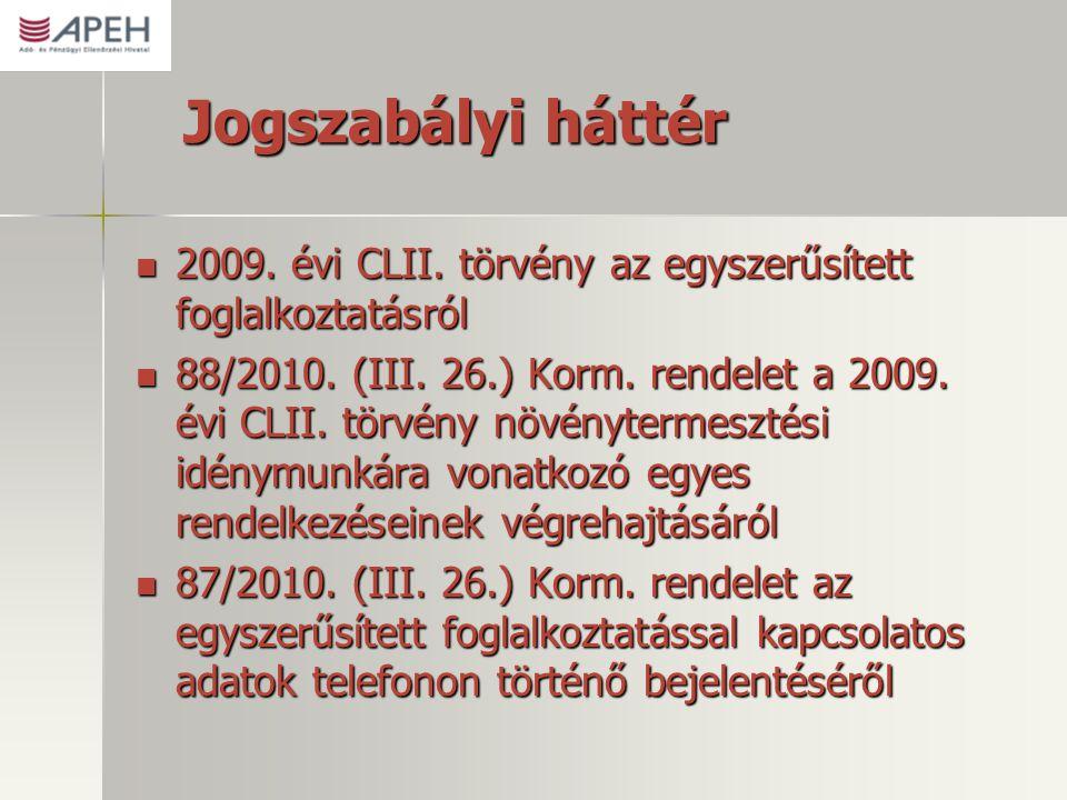 Jogszabályi háttér 2009. évi CLII. törvény az egyszerűsített foglalkoztatásról.