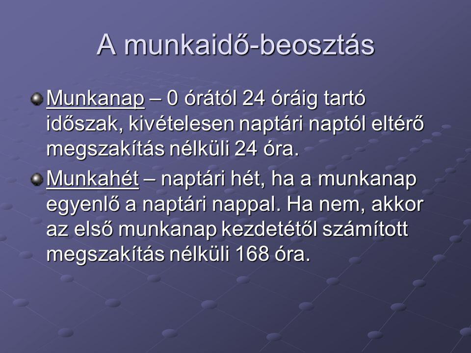 A munkaidő-beosztás Munkanap – 0 órától 24 óráig tartó időszak, kivételesen naptári naptól eltérő megszakítás nélküli 24 óra.