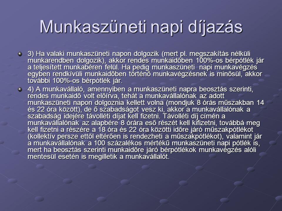 Munkaszüneti napi díjazás