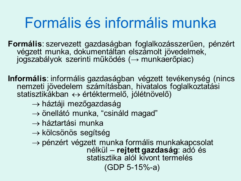 Formális és informális munka