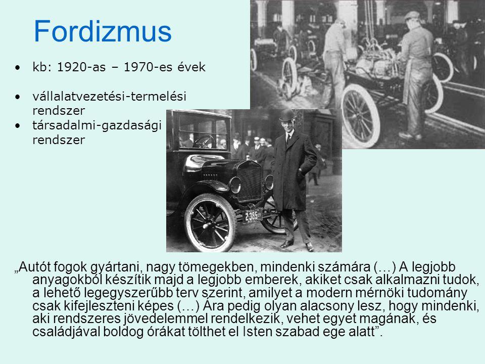 Fordizmus kb: 1920-as – 1970-es évek. vállalatvezetési-termelési. rendszer. társadalmi-gazdasági.
