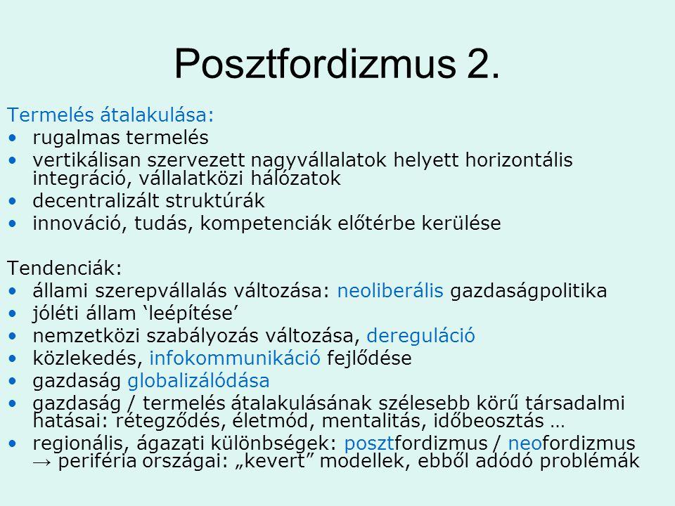 Posztfordizmus 2. Termelés átalakulása: rugalmas termelés