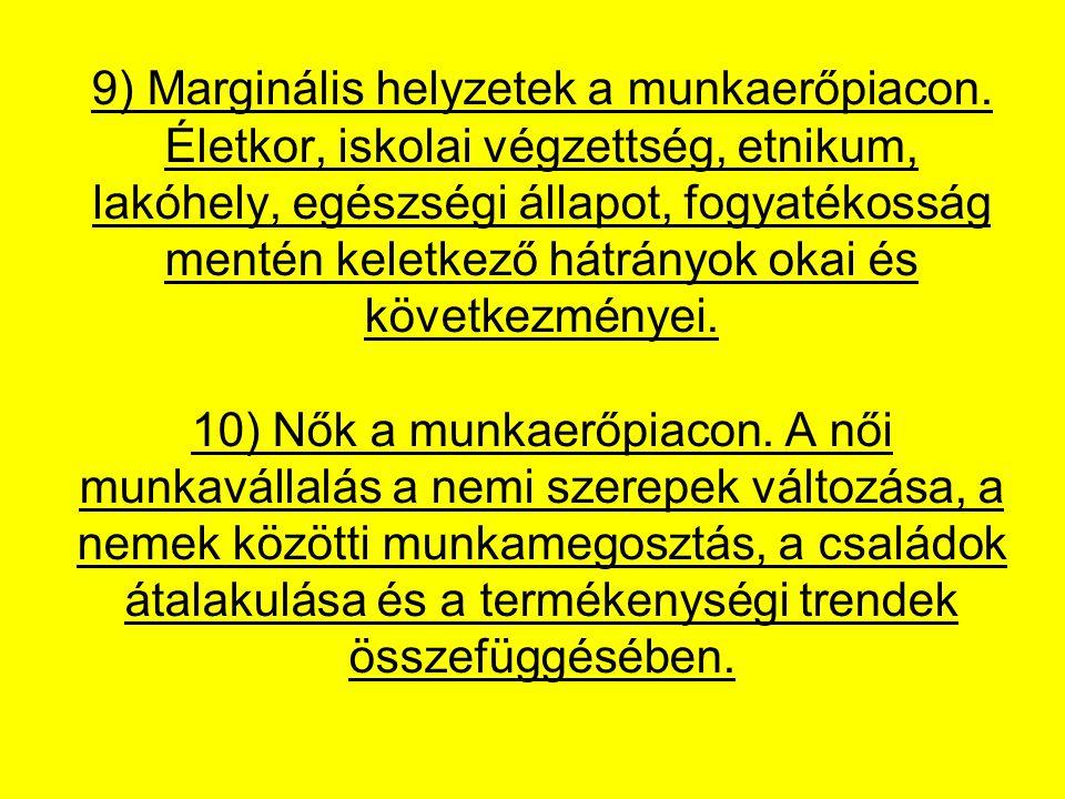 9) Marginális helyzetek a munkaerőpiacon
