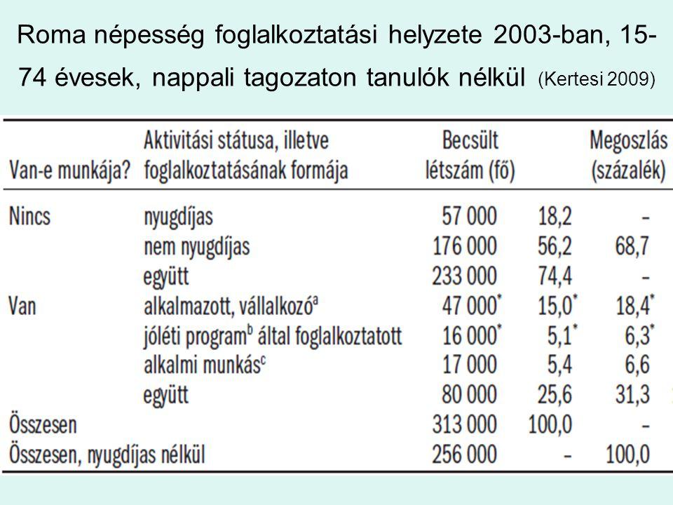 Roma népesség foglalkoztatási helyzete 2003-ban, 15-74 évesek, nappali tagozaton tanulók nélkül (Kertesi 2009)