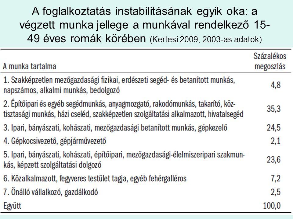 A foglalkoztatás instabilitásának egyik oka: a végzett munka jellege a munkával rendelkező 15-49 éves romák körében (Kertesi 2009, 2003-as adatok)