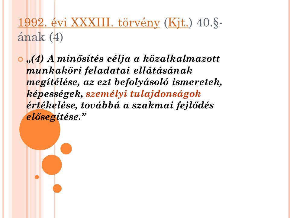 1992. évi XXXIII. törvény (Kjt.) 40.§-ának (4)