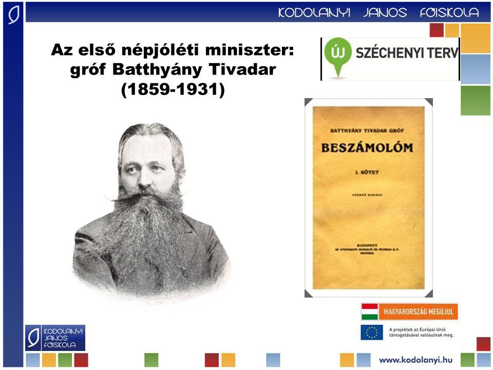Az első népjóléti miniszter: gróf Batthyány Tivadar