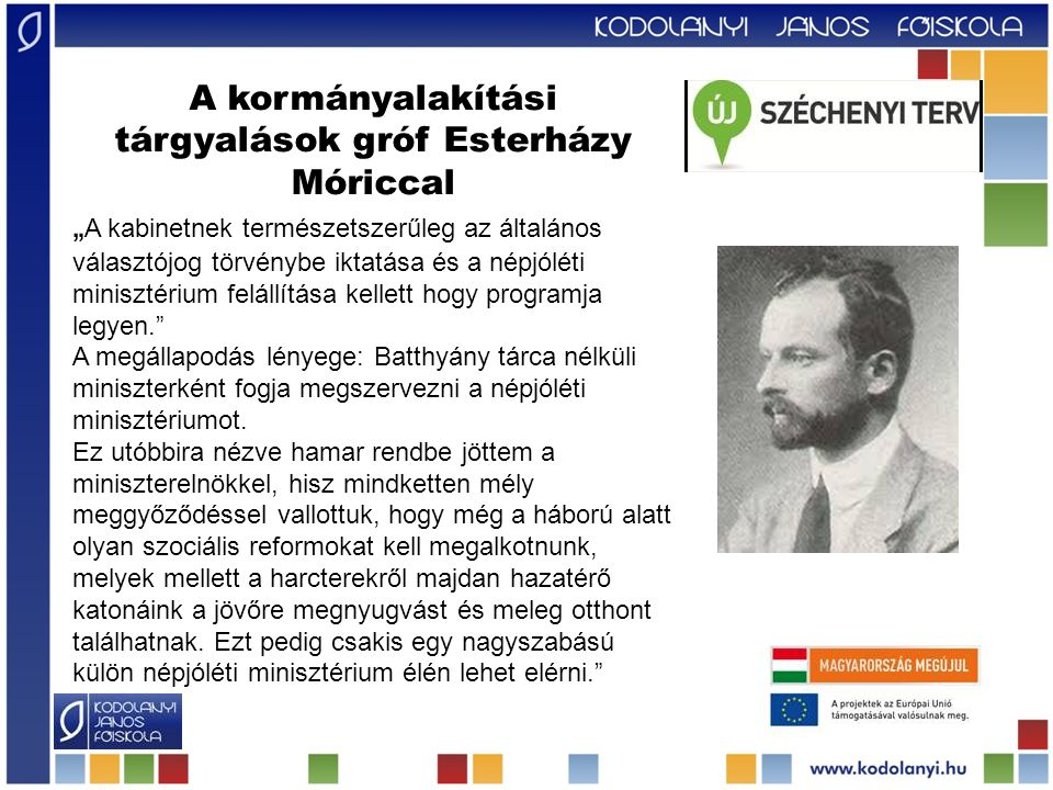 A kormányalakítási tárgyalások gróf Esterházy Móriccal