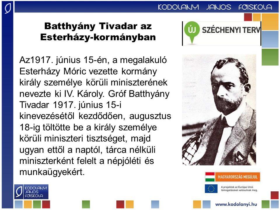 Batthyány Tivadar az Esterházy-kormányban