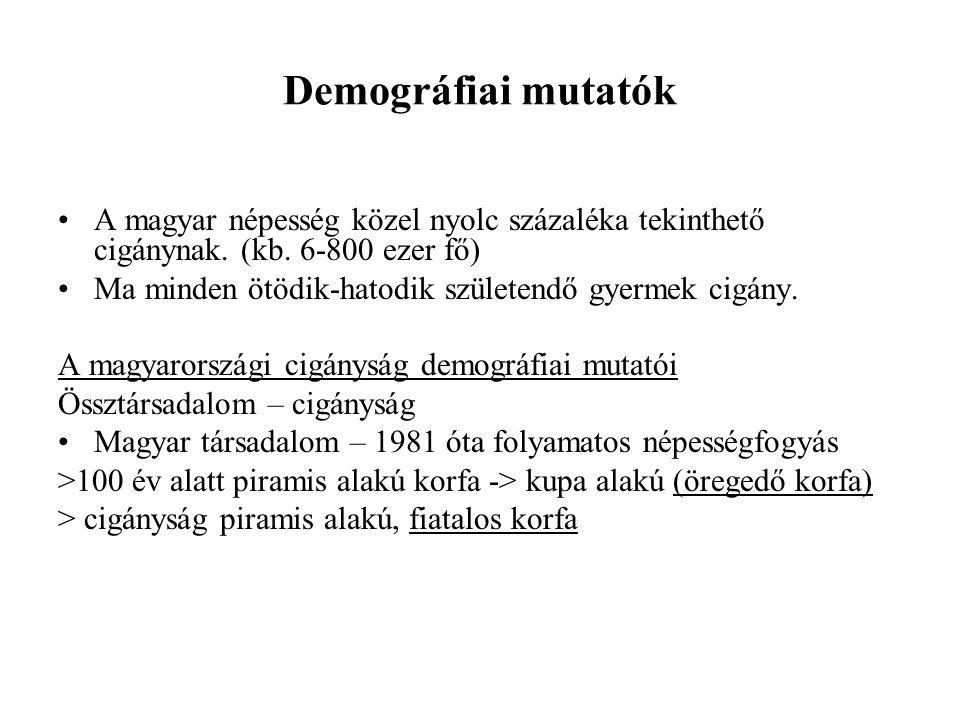 Demográfiai mutatók A magyar népesség közel nyolc százaléka tekinthető cigánynak. (kb. 6-800 ezer fő)