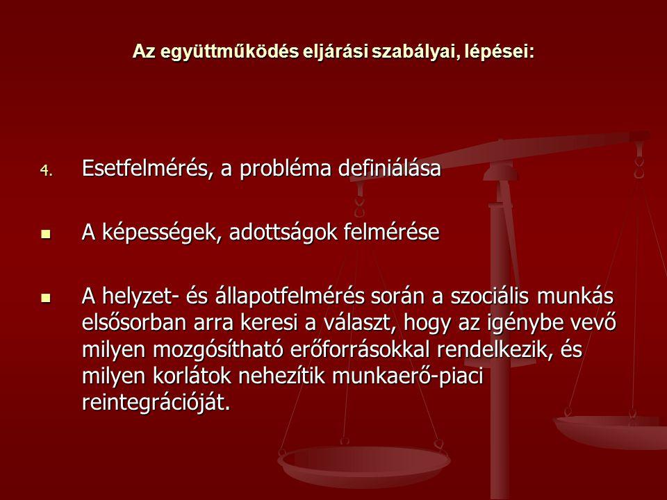 Az együttműködés eljárási szabályai, lépései: