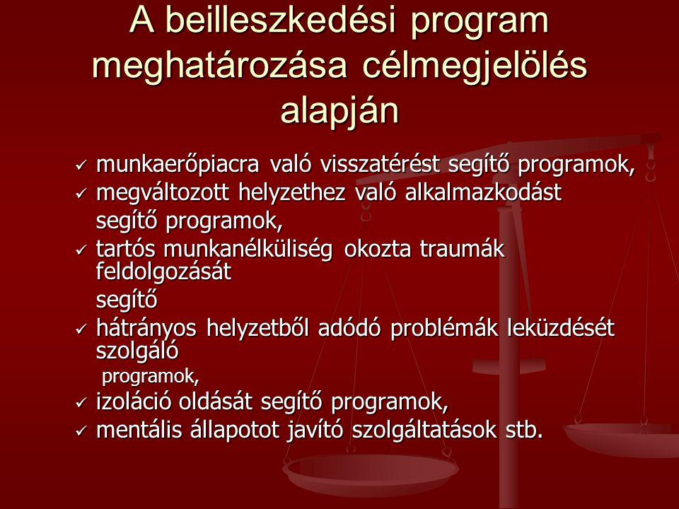 A beilleszkedési program meghatározása célmegjelölés alapján